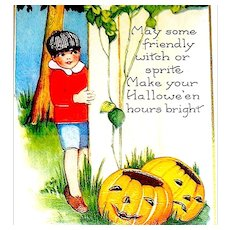Whitney Antique Halloween Postcard - Young Boy, Warns About Witches