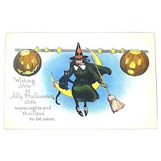 Halloween 20's Postcard, Unused - Witch on Crescent Moon w Cat, JOL's