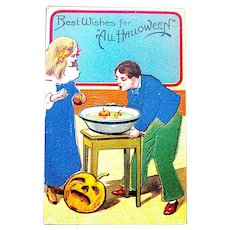 German Halloween Postcard - Boy and Girl in Flannel Clothes - JOL -Orange Foil