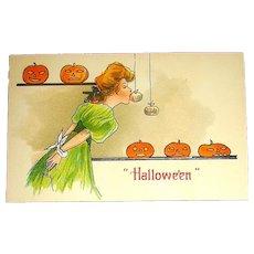 H.B.Griggs German Halloween Game Postcard - EXCELLENT