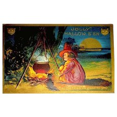 Halloween Antique Postcard - Young Witch, Campfire, Cauldron