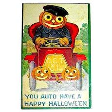 Halloween Antique Postcard - Jack O'Lantern Man, JOL Decorated Auto