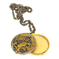 Beautiful Vintage Lilly Dache Powder Compact Necklace