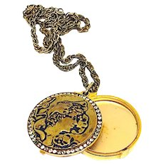 Super Rare Vintage Lilly Dache Powder Compact Necklace