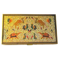 Volupte Gold Tone Necessaire with Exotic Animal Scene - Excellent