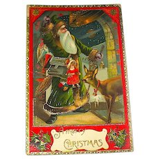 Saxony Santa Claus GEL Antique Postcard - Wonderful Graphics