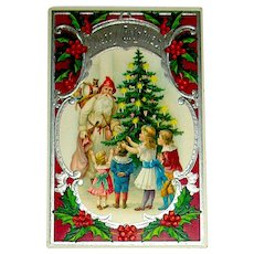 Beautiful German Antique Christmas Postcard - Early Santa Claus, Gifts, Switches, Kids, Tree