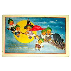 Whitney Halloween Postcard - Girl Witch, Broom, Pumpkin Head Kids, Cat