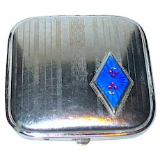 Unused 30's Art Deco Bright Chrome Vanity Compact - MINT