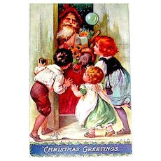 Unused Tuck Oilette Santa Claus Antique Postcard - Designer Signed Beauty
