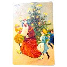 Raphael Kirchner Paris Christmas Postcard - Joyful French Santa Claus, Children, Christmas Tree