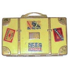 Vintage Hingeco Vanities Inc. Traveler's Suitcase with Destination Labels