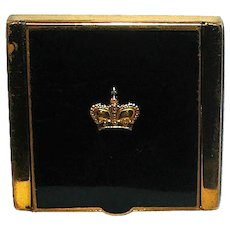 Vintage Prince Matchabelli Black Enamel Gold Tone Powder Compact