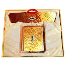 """30's Neiman Marcus Never Used """"Jeweled"""" Compact & Comb Set"""