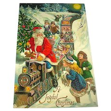 Rare German Santa Claus Train Engineer Postcard - GEL - Gold Series