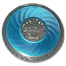 Beautiful Sterling Silver Blue Guilloche Enamel Austrian Compact