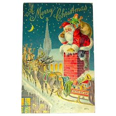 National Art Publishing Co. 1907 Santa Claus, Reindeer, Rooftop Postcard