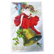 Antique Winsch Christmas Postcard - Beautiful Lady in Red on Gold Bell