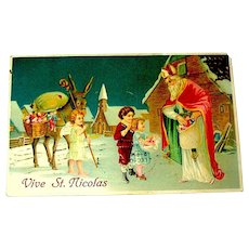 "French Antique ""Vive St. Nicolas"" (Santa Claus) Antique French Postcard"