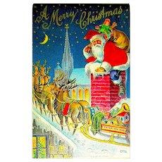Silk Santa Claus w Reindeer on Rooftop Christmas Postcard