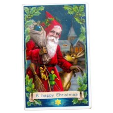 Santa Claus Antique GEL Postcard - Carries Switches - Deer - Toys  - Barton Spooner