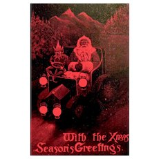 Santa Claus Rare Valentine Series Postcard - Great Britain, 1904 - Elf Drives Auto w Santa
