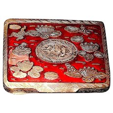 Italian Red Guilloche Silver Compact - Pond Scene - Silver Frogs on Lily Pads