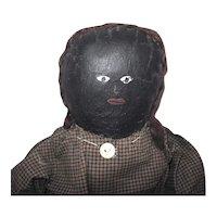 Vintage Black Oil Painted Doll w Hair - Gingham Dress