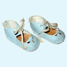 "Light Blue Cloth Doll Shoes, - 2 5/8"" - Cut Our Decorations"