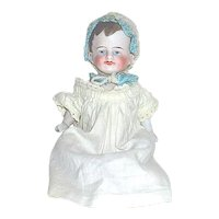"""German All Bisque 6"""" Baby Doll - Antique Gown and Cute Bonnet"""