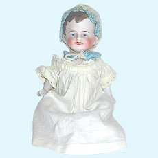 "German All Bisque 6"" Baby Doll - Antique Gown and Cute Bonnet"