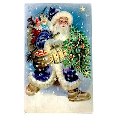 HTL 1908 Wonderful Jolly Santa Claus Hold-to-Light Christmas Postcard