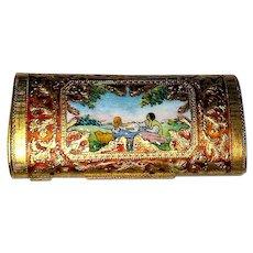 Rare Italian Gold Tone Cigarette Holder - Hand Enamel Portrait - Romance