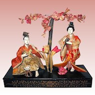 Japanese Gofun Empress and Emperor Dolls, Meiji Period