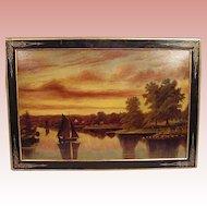 Albert Lorey Groll 19th C. Illuminated Oil Painting--Along the Atlantic