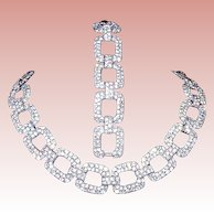 LAST Chance Offer - Ciner 20's - 30's Art Deco Rhinestone Choker & Bracelet