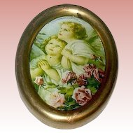 Miniature Antique Brass Framed Cherubs Picture Under Glass
