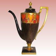 CAC Marked American Belleek 19th C. Coffee Pot w Iridescent Art Nouveau Tulip Motif