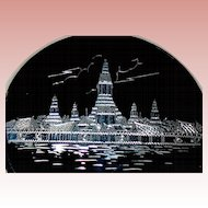 Large Sterling Silver Siam Compact, Temple of Dawn & Amazing Niello Base