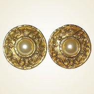 "Huge SALE French Etruscan Designed Earrings, ""Edouard Rambaud Paris"""