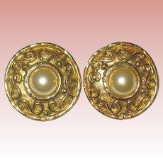 "Huge SALE French Etruscan Designed Earrings, ""Edouard Rambaud Paris"""