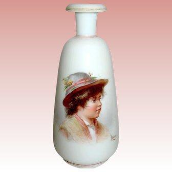 AHNE Signed Bohemian Art Glass Portrait Vase