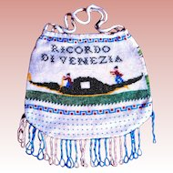 Grand Tour Micro Beaded Venetian Souvenir Purse, Two Scenes, Excellent