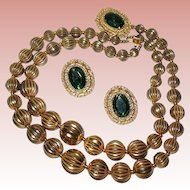 "Vintage ""Florenza"" Goldtone Double Strand Choker and Earrings Set"