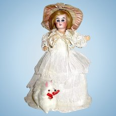 Antique German Belton Bride Doll, All Orig. - Lace Chemise, Gown & Veil, Silk Lace Hat, Mohair Wig
