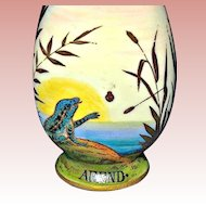 50% Sale: 19th C. Austrian Scent Bottle ~ Hand Painted Nature Scenes