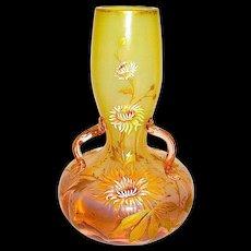 Gorgeous Bohemian Opalescent 3 Handled Art Nouveau Vase by Harrach