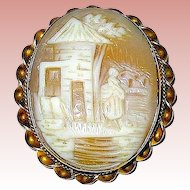 Rebecca At The Well Carved Natural Shell Cameo Brooch