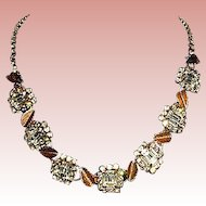 40% OFF - Glamorous Hobe' Sparkling Crystal and Mixed Metal Leaf Designed Necklace