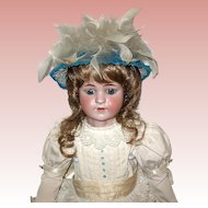 Exquisite Simon Halbig 550 Doll, Gorgeous White Cotton Eyelet Ruffled Dress